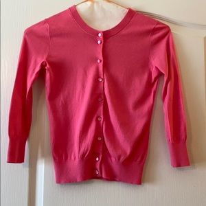 Pink cotton J.Crew cardigan with pearlized button